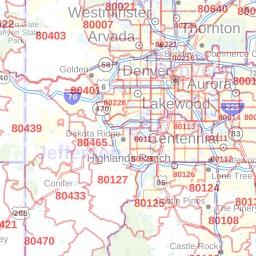 Aurora ZIP Code Map, Colorado